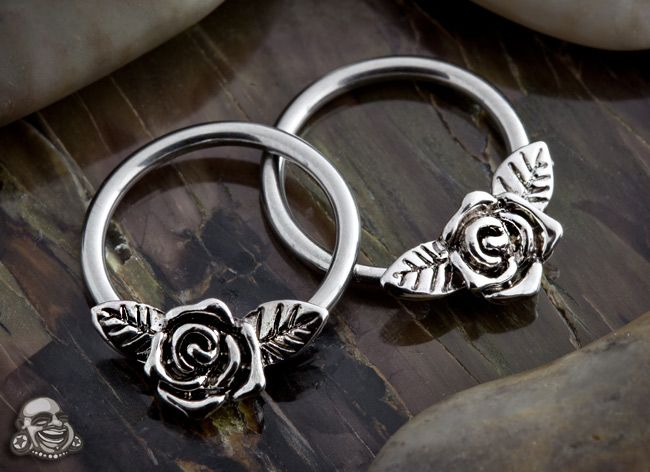 Stainless steel rose captive septum jewelry.