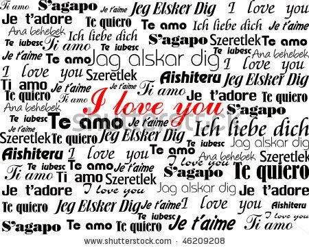 "stock vector : Background made up of the words ""I Love You"" in different languages valentine vector illustration"
