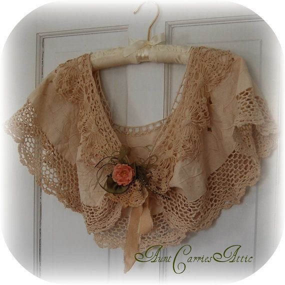 Upcycled heritage linens capelet