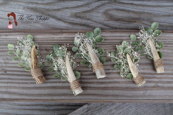AWESOME set of Deer Antler Boutonnieres! Perfect for the groom who loves hunting or the great outdoors!