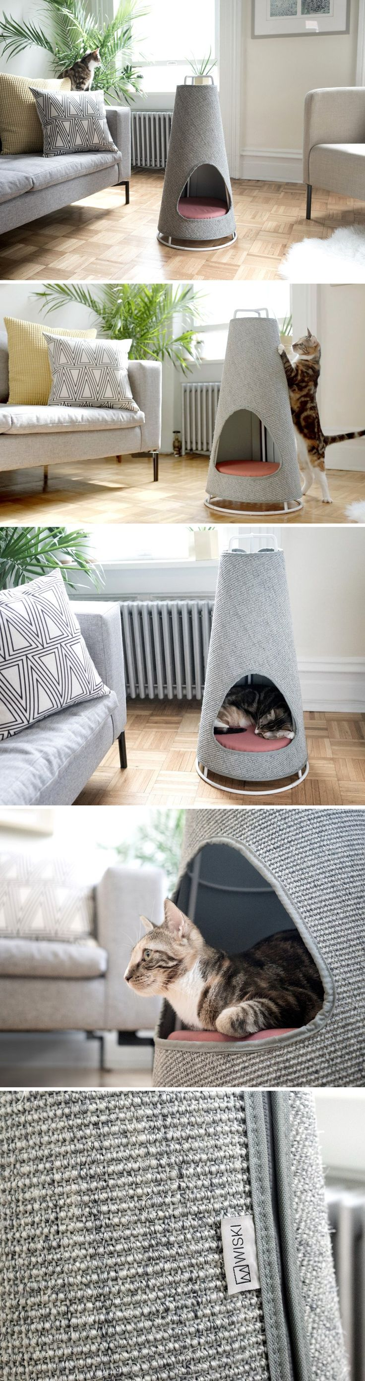 No more shredded sofas. The Cone is the world's most beautiful scratching post and nap space for your cat! It works so well because it takes direct inspiration from nature. The large cats often have a habit of scratching the barks of trees, to mark their territories. The reason domestic cats prefer furniture is because like trees, they are large, sturdy, and don't topple over. The Cone was designed to resemble the tree's bark and stay upright and unmoved.