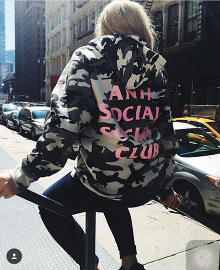 "Print ""Anti Social Socail Club"" Hoodies Camouflage Tops [9282215943] from Trail A. Saved to TA. #freeshipping #winterfashion #sweatshirt #warm #kanyewest #black #kanye #supreme."