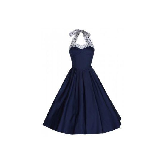 Retro šaty Lindy Bop Carola Blue Šaty ve stylu 50. let. Teplé dny Vás nesmí zaskočit - buďte připravená a pořiďte si tyto dokonale padnoucí šaty - barva královsky modrá, vypasovaný střih s odhalenými zády, zavazování za krk, živůtek podšitý, dobře vytvaruje a drží dekolt, puntíky vše doladí. Bohatost áčkové sukně doladíte k dokonalosti spodničkou z naší nabídky.