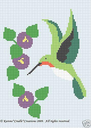 Crochet Patterns Hummingbird Color Graph Afghan Pattern   eBay