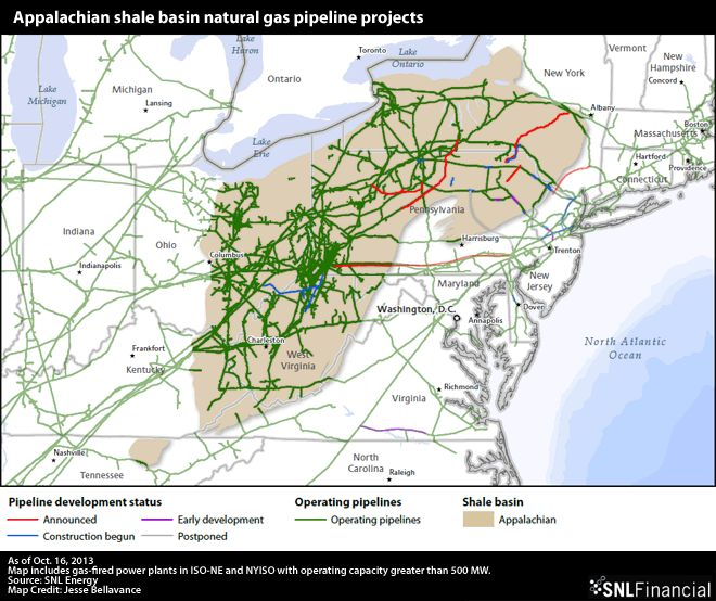 Marcellus/Utica Shale natural gas pipeline projects