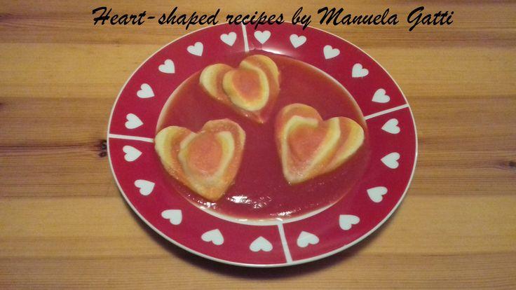 ravioli a forma di cuore di tre colori con girandola