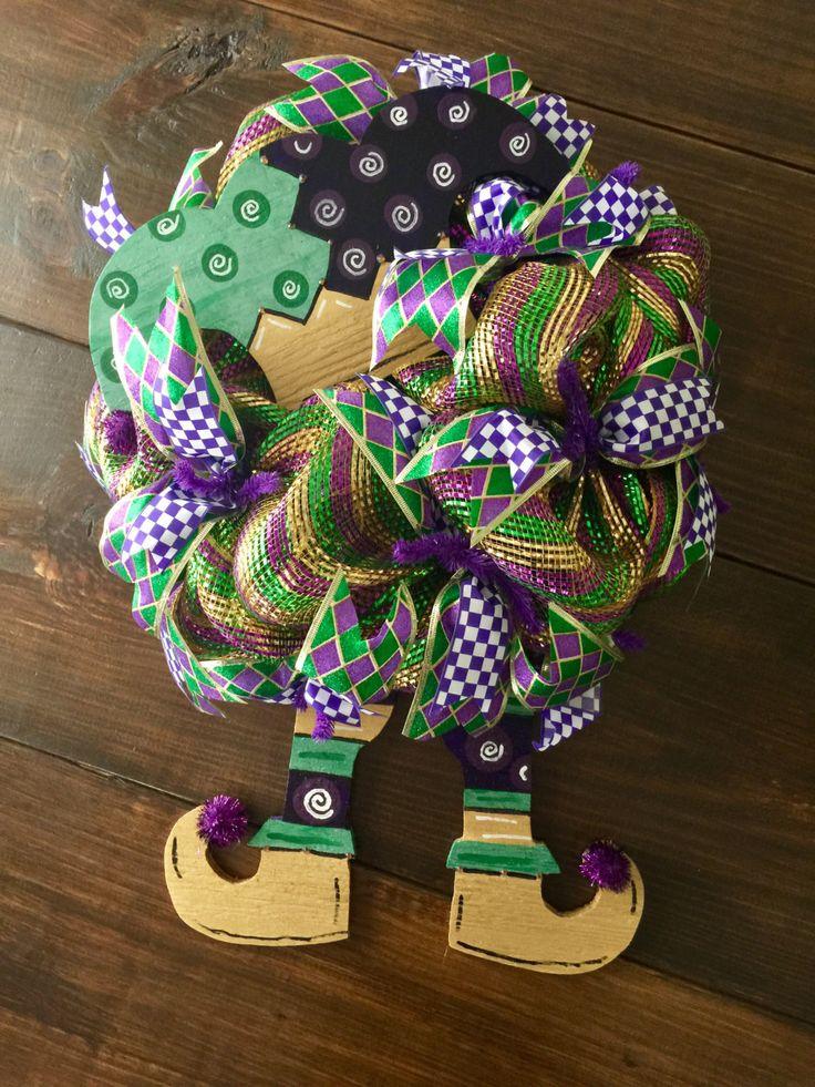 Jester Mardi Gras Wreath by KraftybyKelly on Etsy