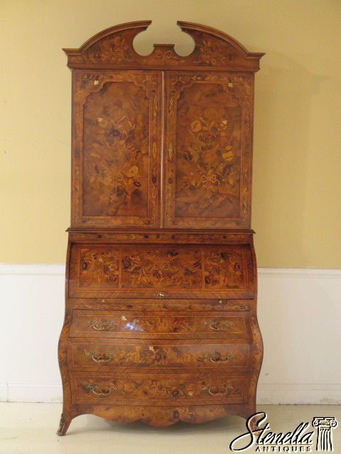 28194E:  Italian Marquetry Inlaid Large Cylinder Secretary Desk #Unknown