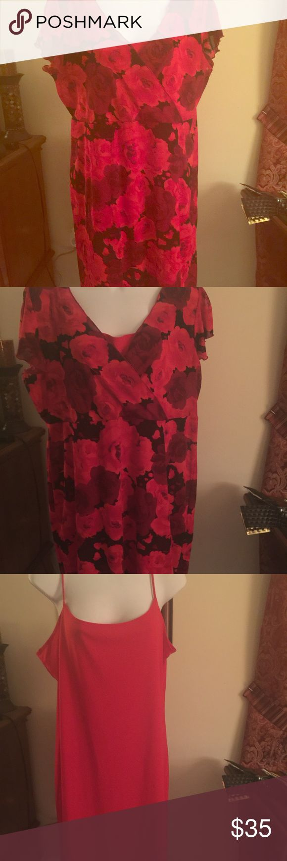 Two piece she's floral dress Sheer floral two piece dress with flutter sleeve.   The spaghetti strapped dress worn underneath can be worn as a dress by itself.   The dress is 100% polyester and is very flattering for the full figured woman Dresses