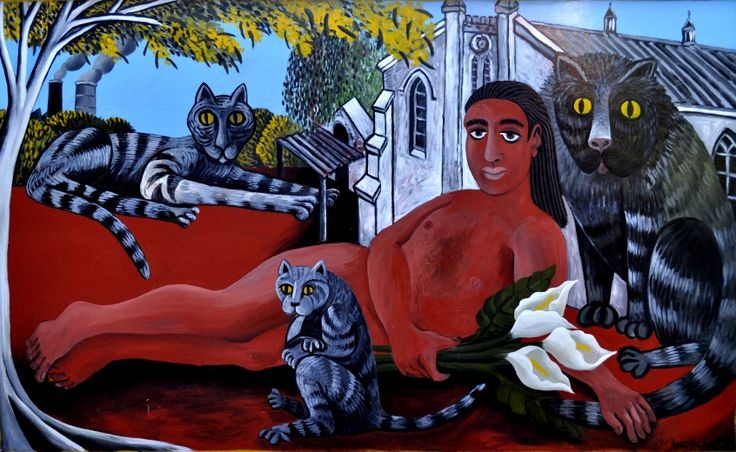 Nicolaas Maritz, SELF PORTRAIT WITH CHURCH AND CATS 1992, enamel paint on board