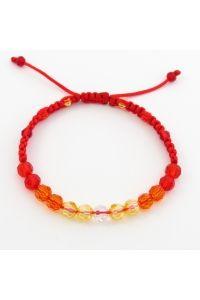 Náramok pletený červený Krištáľ korálky