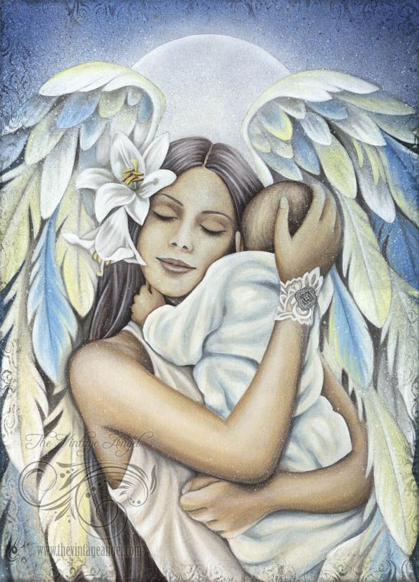 A vibrant, detailed full color art print made with Epson lightfast inks in my studio on lush, velvet paper.  This angel print is made from my original acrylic on canvas and features a serene angel holding a baby in shades of pale blue with lots of white and pale yellow highlights.  Image is 12.25