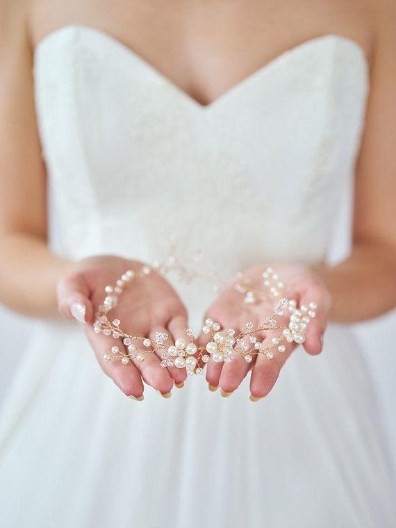 Braut Haar Kranz Hochzeit Haarschmuck Gold Braut