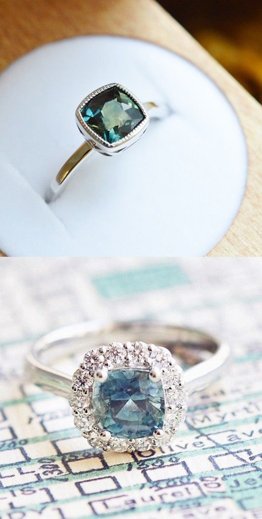 TOP ONE!!!! Love the uniqueness of these saphhire engagement rings.