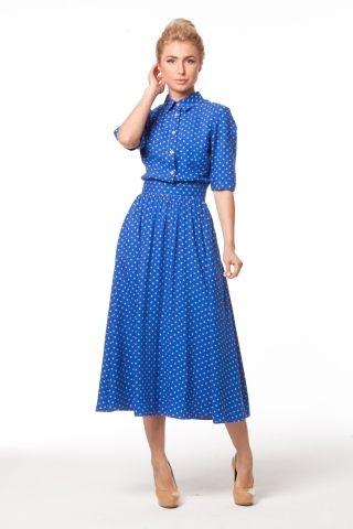 0975 Платье синий штапель с оранжевыми горохами рубашечный верх