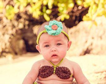 Hawaiana Hula fotografía recién Prop bebé ducha regalo/Halloween traje/pastel fotografía Smash Prop de ganchillo