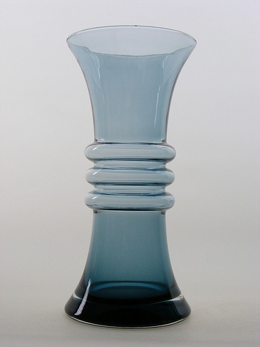 "Riihimaki ""Kielo"" steel blue cased glass vase, designed by Tamara Aladin."