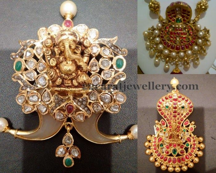 Jewellery Designs: Naga and Ganesh Pendant Sets