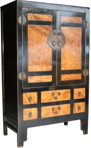 Large Chinese Black Burl Wood Inlay Large Cabinet/Wardrobe  (73-101)