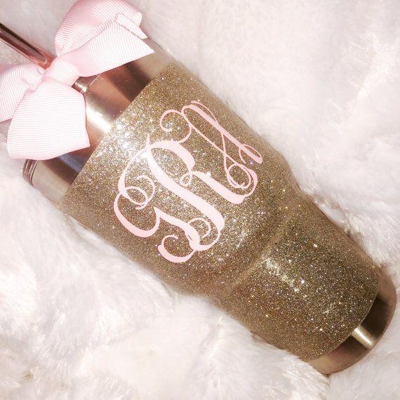 Glitter Yeti Rambler in White Gold with Lid & Bow by GlitterYeti