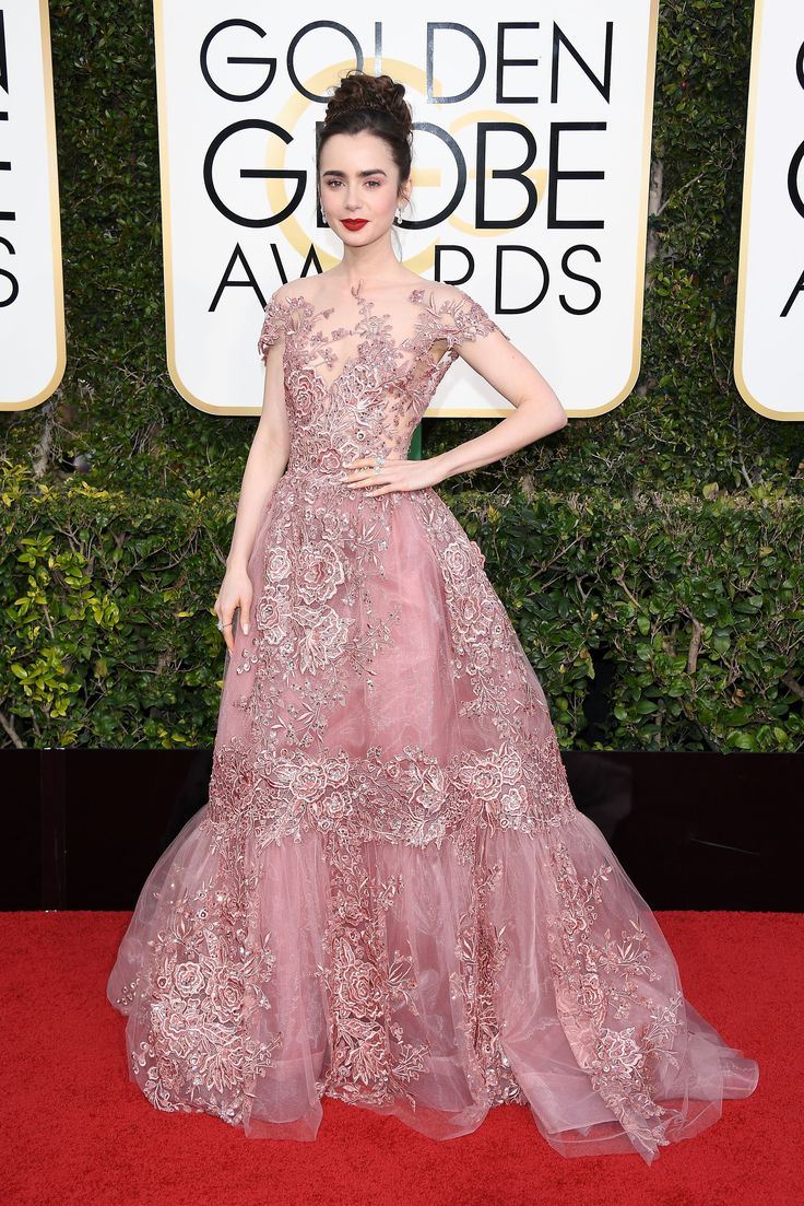 Lily Collins in a Zuhair Murad Couture dress and Harry Winston jewelry at 2017 Golden Globes
