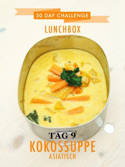 30 day challenge: Jeden Tag ein leckeres Mittagessen für die Büro-Lunchbox zubereiten. Bei kalten Frühlingstemperaturen gibt es heute Asiatische Kokossuppe.