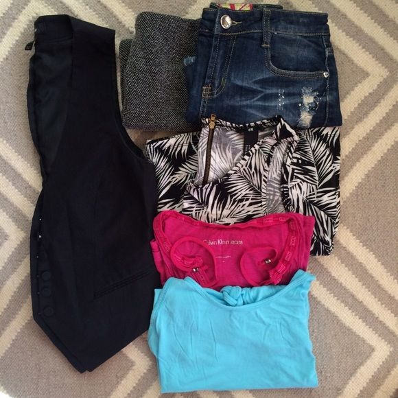 3 for $10 or 5 for $15 Mix and match from other listings. Clearing my closet of good condition gently worn clothes! 1.L (fits like a 27) denim skirt with rhinestones 2.knit express skirt (some wear see other listing for details) 3. M H & M floral jersey dress 4.M robins egg blue tank with braided back BR outlet 5. M Calvin Klein pink tank 6. Size 8 (runs small) H&M pin stripes vest **comment what you would like and I will make a new bundle for you*** Other