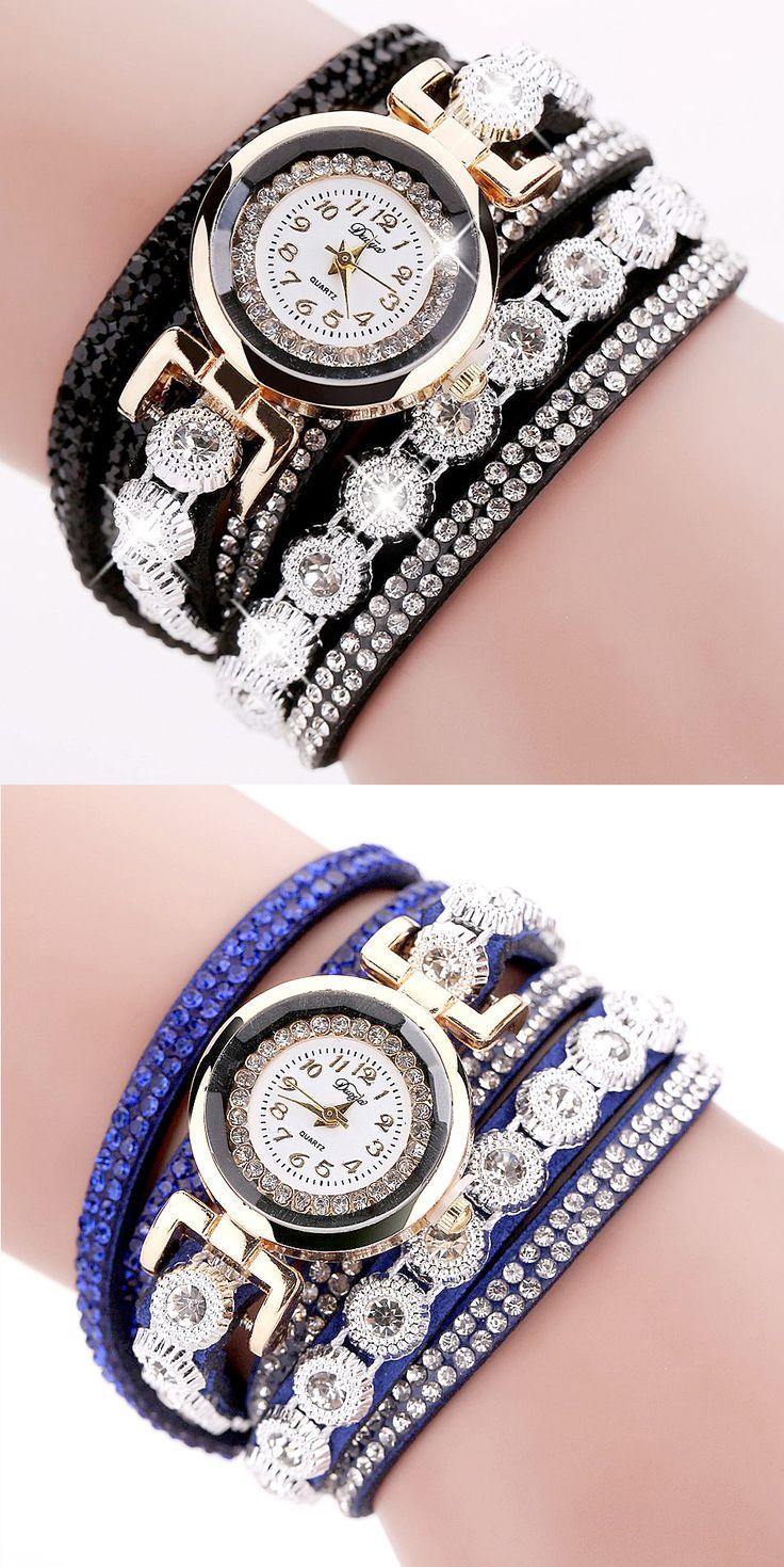 DUOYA DY038 Colorful Fashion Style Wristwatch Crystal Round Dial Bracelet Elegant Women Watch