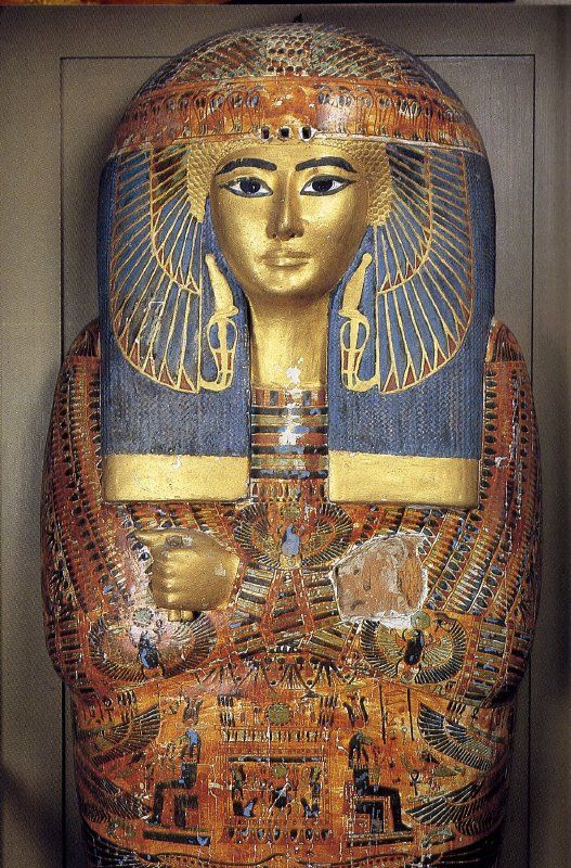 Mummy case of Maatkare, daughter of the ruling High priest of Akin, Pinudjem I. She was named after the female Pharoah, Hatshepsut.