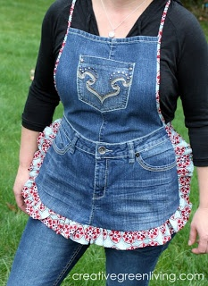 Blue jean apron inspiration... bias tape all the way down the sides, ruffle only on the bottom.