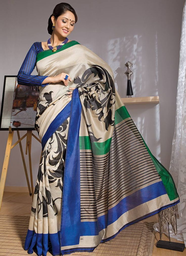 Beige Printed Art Silk Saree