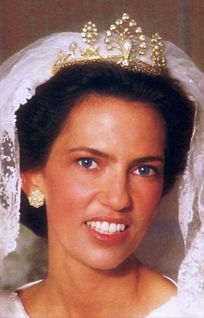 Archduchess Maria Constanza wearing the Habsburg Tiara, Austria (pearls, diamonds, gold).