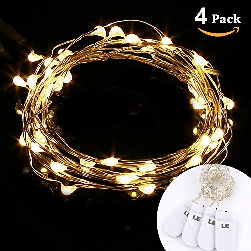 LE 4 Pack LED Warm White Starry String Lights, Micro String, 3.3ft/1m 20 LEDs, Battery Operated ...