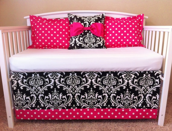 Black And Pink Damask Baby Bedding