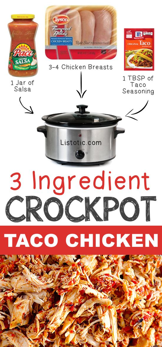 #5. 3 Ingredient Crockpot Taco Chicken | 12 Mind-Blowing Ways To Cook Meat In Your Crockpot