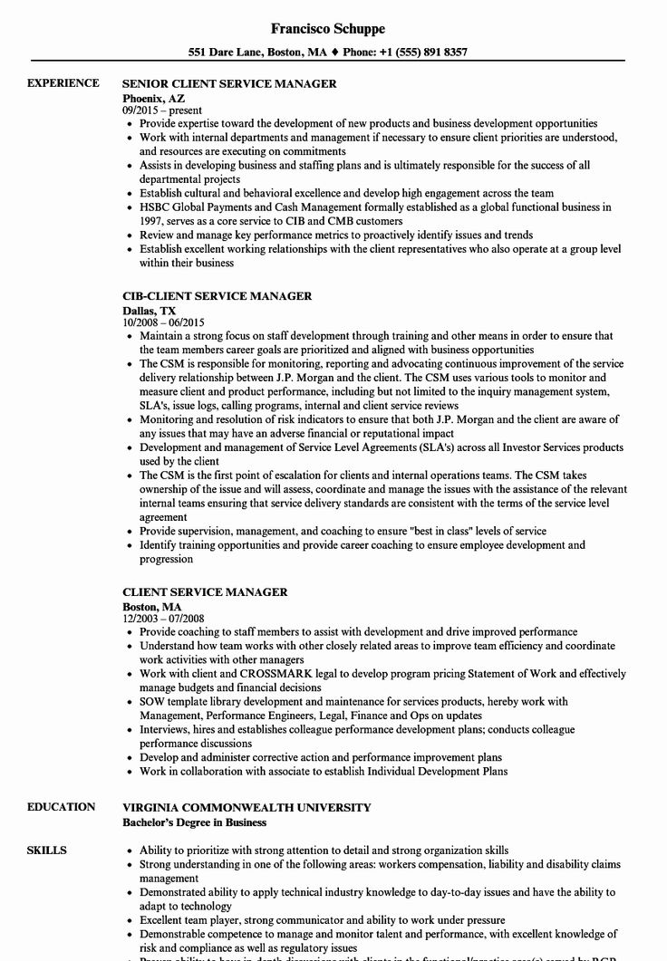 20 client services manager resume in 2020 customer career objective for sales and marketing executive driver cv format ms word download skill set template