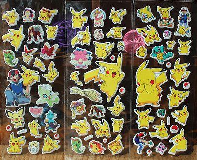 1 pc kartun anime Pokemon stiker untuk kamar anak-anak dekorasi Rumah Dekorasi Diary Notebook Label mainan Pikachu 3D stiker acak warna