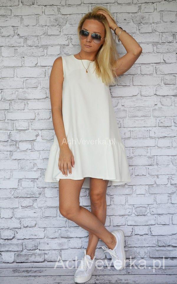Sukienka Anioł ECRU. AchVeverka.pl #sukienka #anioł #ecru #falbana #któtka #rozkloszowana