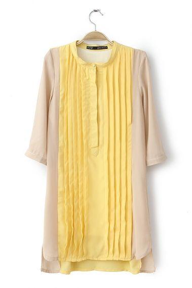 Colorblock Pleat Front Shift Dress