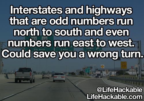 Interstates and highways that are odd numbers run north to south and even numbers run east to west. Could save you a wrong turn.