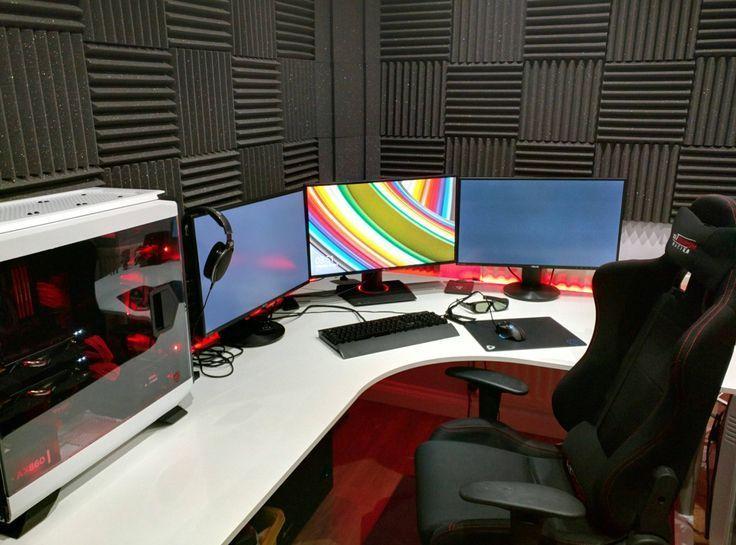 White Gaming Computer Desk Setup Battle Station Corner L
