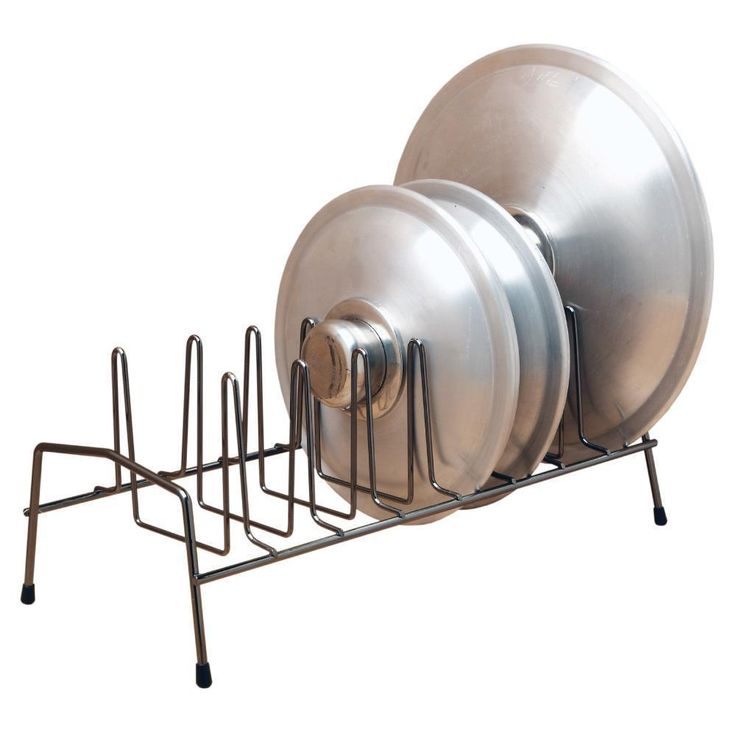 Black Steel 7-Slot Pot Pan Lid Holder Rack Kitchen Organizer Storage Spacesaver    Description    516305480    Keep all your lids neatly aligned with this Kitchen Details Lid Organizer. Place it on your counter-top, in your cabinet, or any other spot...