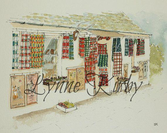 Tartan Kilt Shop Scotland heritage watercolour print