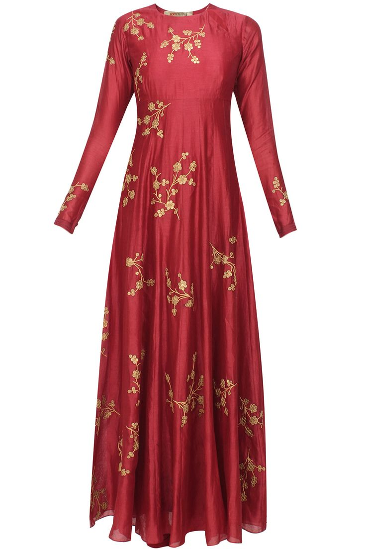 Maroon floral sequins embroidered flared anarkali set available only at Pernia's Pop Up Shop.