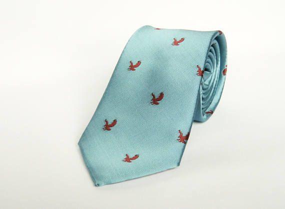 Blue eagle animal print tie wedding tie gift for men eagle