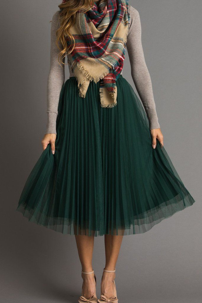 Vienna Green Pleated Tulle Midi Skirt 1