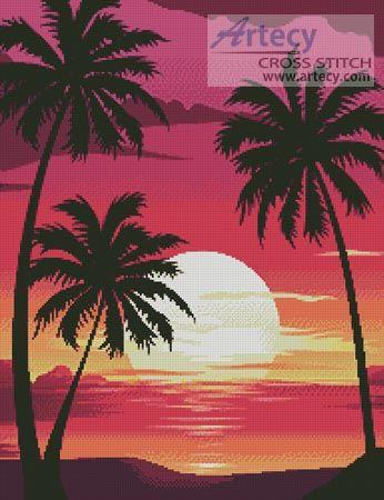 Artecy Cross Stitch. Sunset with Palm Trees Cross Stitch Pattern to print online.