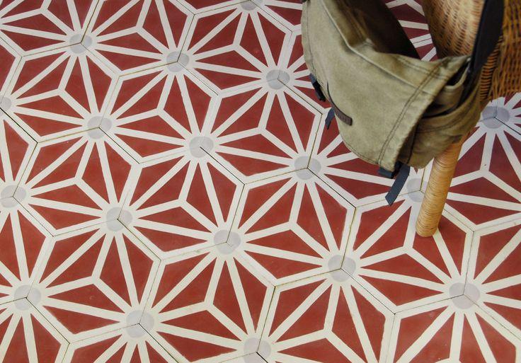zazie hexagonal tiles in red