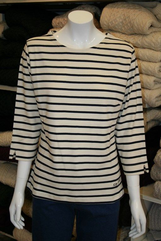 Ecru/Navy Breton style striped top made from 100% pure cotton from Key West. Perfect for the holiday suitcase.