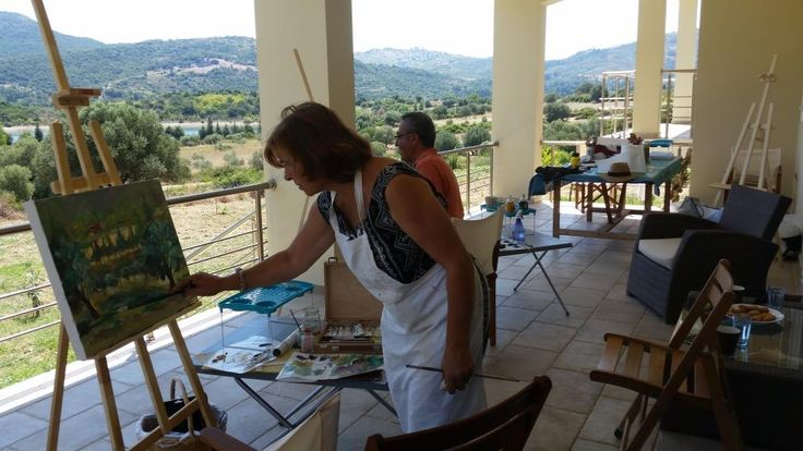 The Metaxart artists painting the Tzanata Valley, Kefalonia during July workshops.